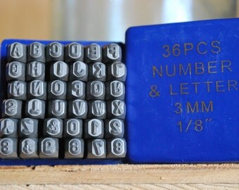 New Lower Price-Basic 1/8 inch Letters and Number Set- 3 MM-Great Inexpensive Tool for Your Shop and Stamping Needs
