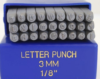 New-Arial Font- 3 mm  LOWERCASE- Rare- Letter Set-Metal Stamp Set-Great Inexpensive Tool for Your Shop and Stamping Needs