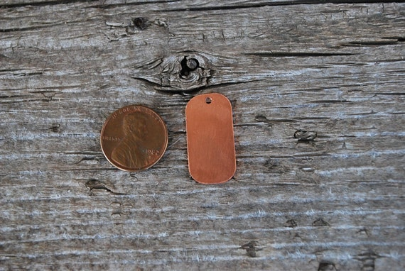 Small Copper Dog Tag 5 pieces  18 g. Great for your Jewelry Stamping Needs