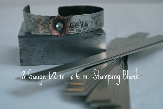 Nickel Silver Bracelet Cuff Stamping Blanks- 18g.-1/2 in. x 6 in. Easy to work with- Quantity 3-Use alone or rivet