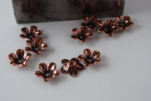 Flower Stamping 12 mm x 12 mm-You Get 12 Flowers-Copper Finish-Darling to add to your Jewelry--Use with riveting