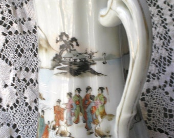 Antique Nagoya Nippon Hand Painted Porcelain Chocolate Pot or Coffee Pot