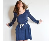 Reserved - TOTALLY COOL SALE River Autumn long sleeve dress in washed blue silky rayon