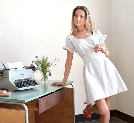 Stripe Attack little cotton Dress with Obi Belt
