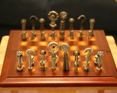 Steampunk steel hardware (nuts and bolts) chess set and chess board