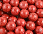 Four - 20mm Red Sponge Coral Round Beads