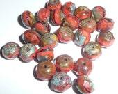 Gorgeous Deep Orange Coral Czech Glass Rondells Beads 6x8mm Orange Beads (25)