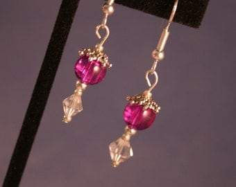 Silver Earrings with Purple and Crystal (P-28)