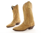 RESERVED for NIKKI - Minimally Styled Western Boots by Code West. Buttery soft Ochre Leather. Made in the USA - Men's size 8 (Wide)