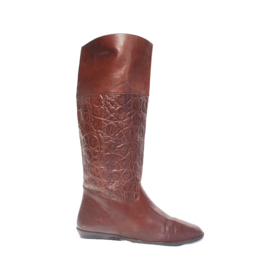 Fashion Equestrian: Tall brown Pseudo Animal Textured Riding boots. Oxblood Egglplant leather. 9 West  - Womens size 7