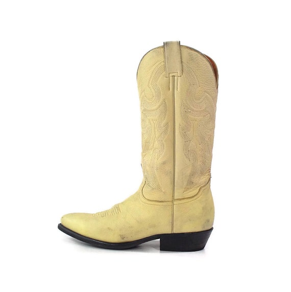 Cowboy Boots: Buttery soft Buttermilk leather by El General. Intricate Embroidery on Tall straight Shaft - Womens 9 or Mens 7.5