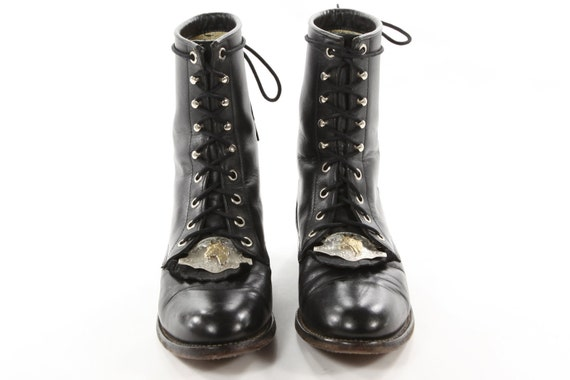 Derby Day Any Day. Vintage Justin Black Leather Lacers with Equestrian Engraved Metal Kilties. Horse Lover's Dream Boots - Women's size 6.5