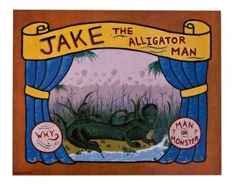 Jake the Alligator man freak show banner print poster carnival weird