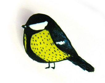 Royal Tit Bird Brooch Pin - Shrinky Plastic