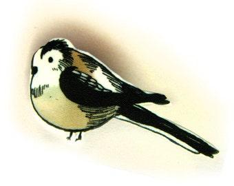 Bird Brooch - Long Tailed Tit
