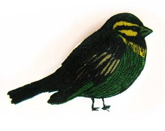 Bird Brooch - Cirl Bunting Pin