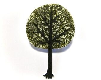 Tree Brooch Pin Badge Shrinky Plastic