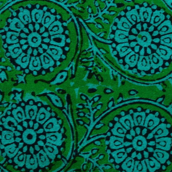 hand block print cotton fabric - green and blue floral pattern  1 yard