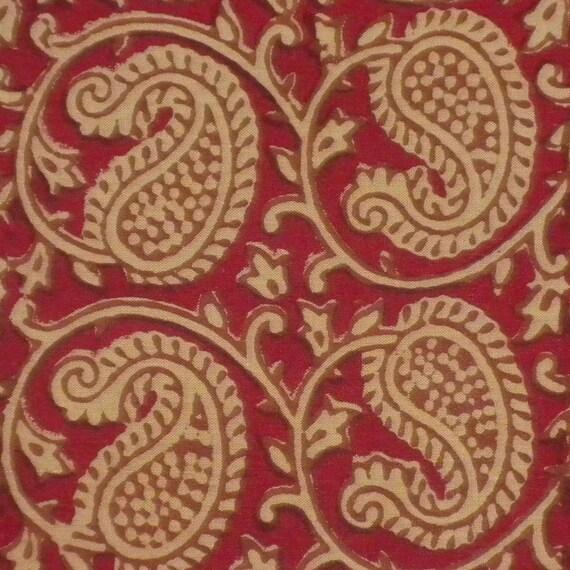 Hand Block Print Cotton Fabric Beige Paisley Indian Print On