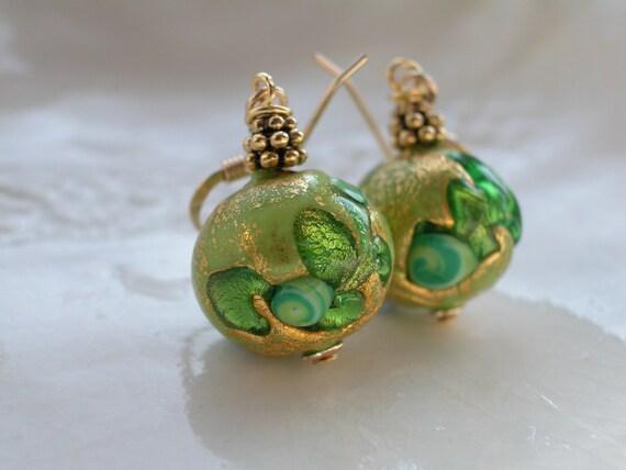 Venetian Murano Glass Green Earrings