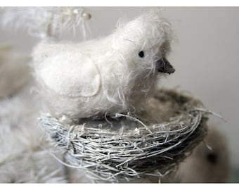 Sweet folk art mohair bird with nest decoration for your vintage Christmas tree