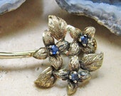 Vintage SAPPHIRE European Jewelry Brooch Silver Floral Bouquet Sterling 1940s
