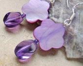 AMETHYST Earrings Sterling Silver Mother of Pearl Flower Purple