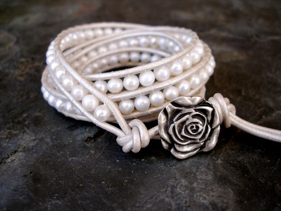 Leather Wrap Freshwater Pearl Bracelet Wedding Special Occasion