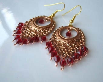 Copper and Red Crystal Chandelier Earrings Red Chandelier Earrings Copper Earrings
