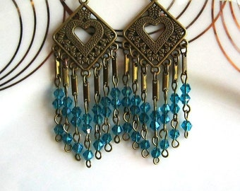Teal Blue Chandelier Earrings Teal Blue Crystal Chandelier Earrings Teal Earrings
