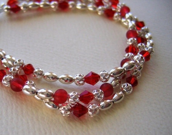 Silver and Red Crystal Bracelet Silver and Red Bracelet