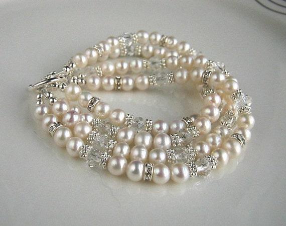 White Pearl Wedding Bracelet White Freshwater Pearl Bridal Bracelet