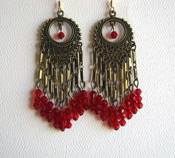 Long red chandelier earrings red crystal chandelier earrings aloadofball Gallery