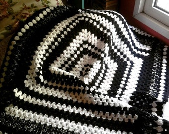Blanket Granny Square Throw Lap Cover Baby Blanket Black and White  Crochet Blanket Black And White
