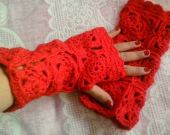 CLEARANCE SALE! Crochet Fingerless Gloves Red Fingerless Mittens Women Fashion Accessories   Gift For Her Free Shipment