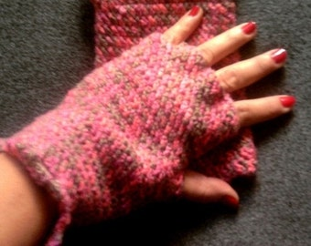 Crochet Fingerless Gloves Rusty Rose Mittens Women Fashion Accessories  Gift For Her