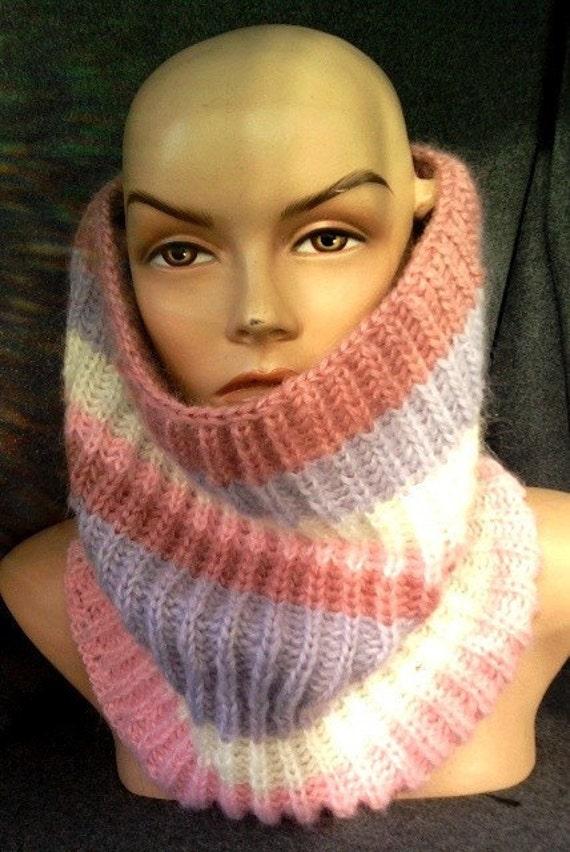 Knitted Cowl Neckwarmer Super Soft Mohair