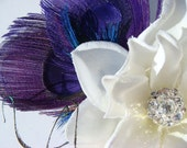 Purple Peacock Rhinestone Flower - bridal hair clip pin comb headband brooch feather
