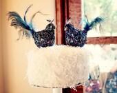 PRIORITY for emce3669 - PEACOCK Wedding Cake Topper Luxurious Encrusted Peacock Love Birds - bridal cake topper