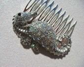 Swarovski Crystal SEAHORSE Hair Comb / beach wedding destination Aurao Borealis rhinestone hair comb mermaid
