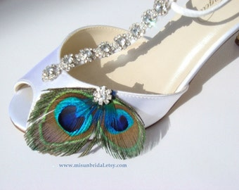 Peacock Shoe Clips with gorgeous rhinestones - CRYSTAL - feather rhinestone shoe clips bridal peacock