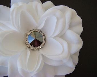 Elegant BLACK Diamond - PURE WHITE gardenia with Swarovski Crystal Center Rhinestone - bridal hair clip pin comb - Customizable