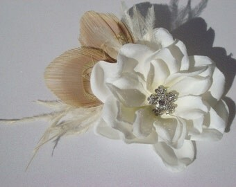 Peacock Wedding Hair Piece - Ivory Flower with Ivory Peacock Feather Ostrich Feather rhinestone / flower hair clip champagne