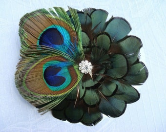 Sexy Peacock Wedding Feather Hair Clip or Brooch Pin Flower Pinwheel - peacock feather bridal clip feather flower
