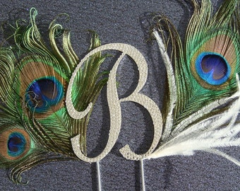 Peacock Wedding Cake Topper / swarovski crystal monogram cake topper with real peacock feathers and ostrich feathers bridal peacock