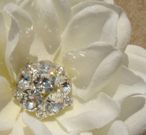 Bridal Ivory Hair Flower with rhinestone centerpiece / bridal flower hair clip / hair pin/ hair comb / DIAMONDS R FOREVER
