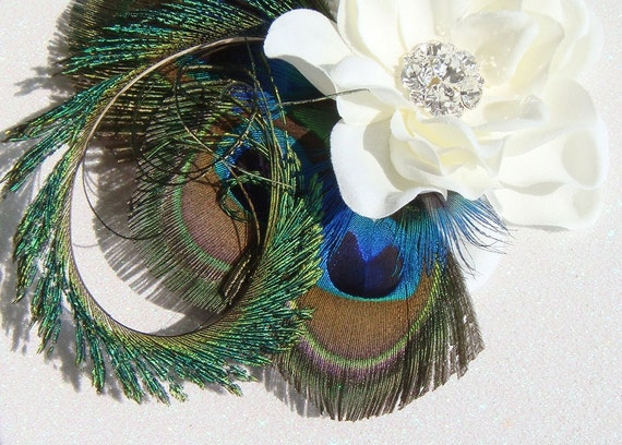 Dramatic Peacock Feathers Flowers Bridal Bouquet Purple: Peacock Wedding / Dramatic Bridal Peacock Feather By