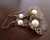 Lace Lily Earrings in Brass