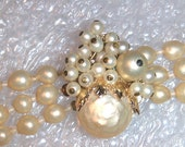 Vintage Antique All Glass Faux Pearls Ornate Clasp 3 Strands Necklace Choker Haskell Style