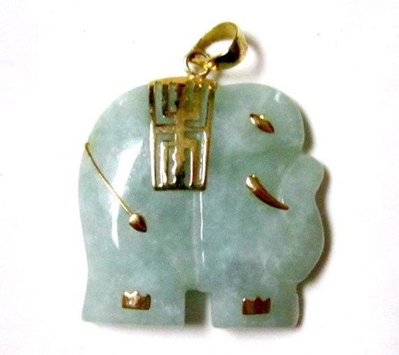 10K Gold Genuine Green Jade Elephant Pendant Great Gift Idea Under 100